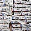 Funny name plates in the rain - Foto Stock