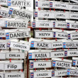 Funny name plates in the rain - Stockfoto