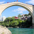 old bridge in mostar and river neretva — Stock Photo
