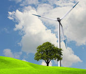 Wind power, ecology — 图库照片