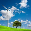 Wind turbines farm on hill — Stock Photo