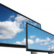 Outdoor billboards with clouds on white background — Stock Photo #3318937