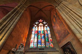 Stained-glass window of St. Vitus Cathedral — Stock Photo