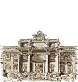 Antique Trevi fountain — Stock Photo