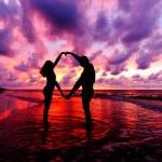 Silhouettes on Sea Sunset — Stock Photo