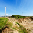Sandpit and wind turbines — Foto Stock