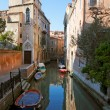 Small canal bridge buildings, Venice — Stock Photo