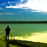Fishing in a lake — Stock Photo