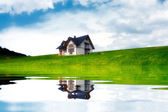 New house near the lake — Stock Photo