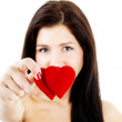 Woman with two hearts — Stock Photo