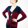 Sexy girl wearing a cardigan — Stock Photo