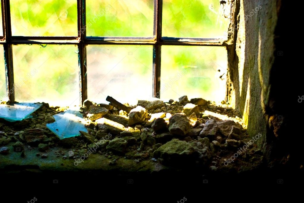 Discarded ruin with old windows and wall, industrial window in concrete wall  Stock Photo #2963084