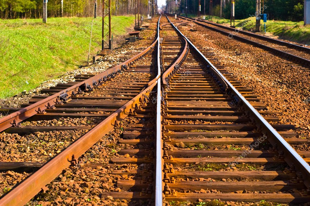 View of the railway track on a sunny day  Stock Photo #3010447