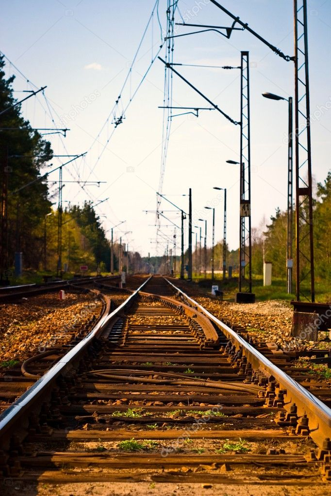 View of the railway track on a sunny day  Stock Photo #3010453