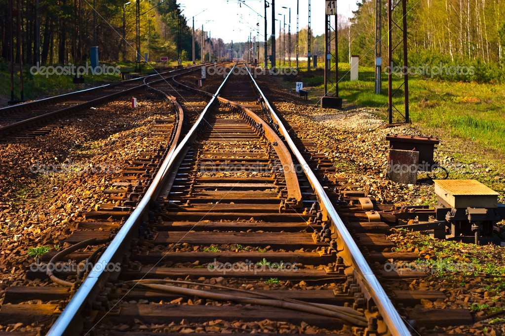 View of the railway track on a sunny day  Stock Photo #3010547