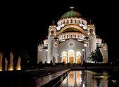 Temple of Saint Sava by night — Stock Photo