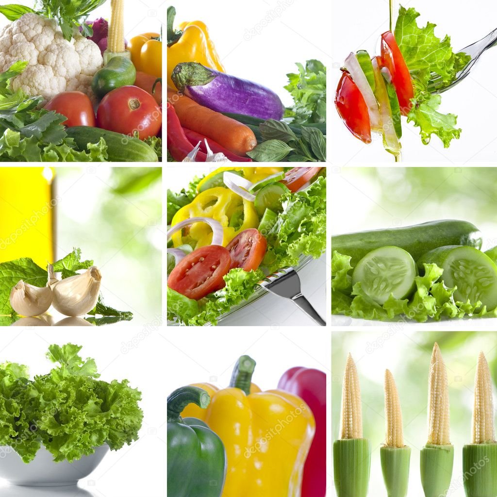 Vegetable theme collage composed of few images — Stock Photo #2764566