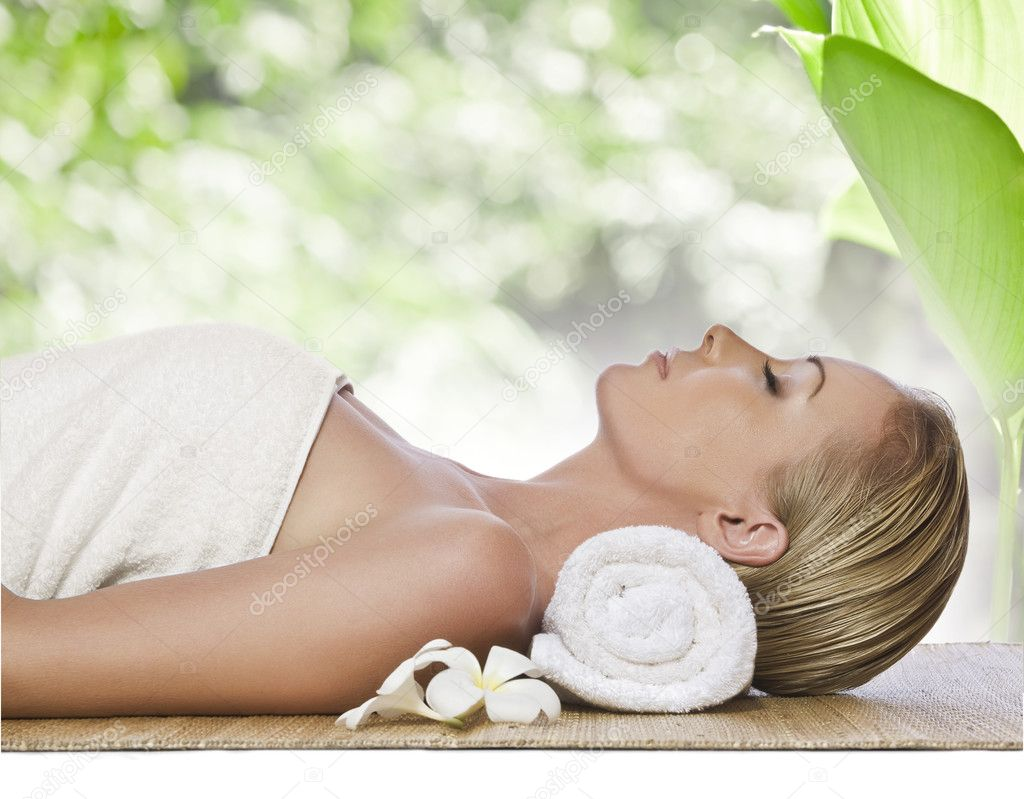 Portrait of young beautiful woman in spa environment  Stock Photo #2978388