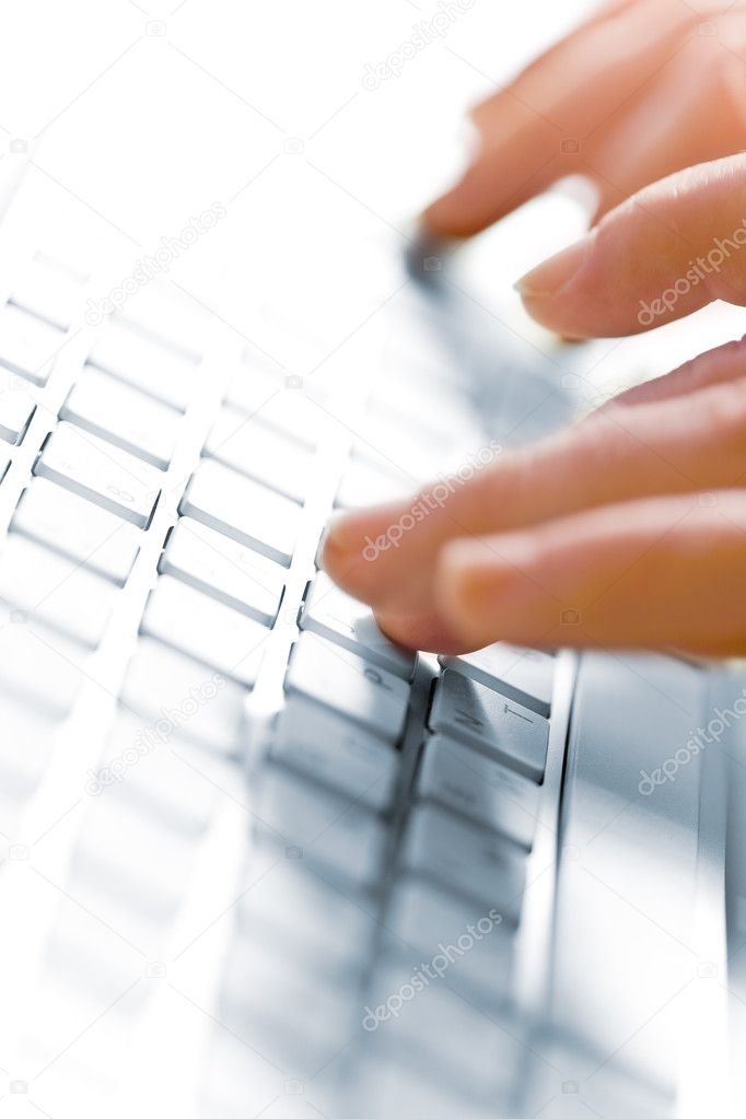 Close up blurred view of male hand touching computer keyboard — Stock Photo #3503376