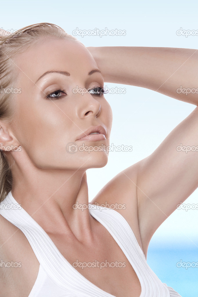High key portrait of young beautiful woman  on color  back  — Stock Photo #3757127