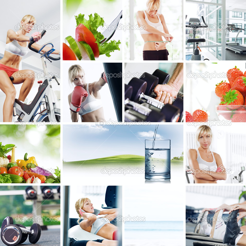 Healthy lifestyle  theme collage composed of different images — Stock Photo #3766264