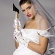 Bridezilla with an ax — Stock Photo #2866345