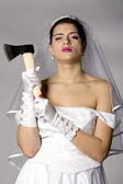 Bridezilla with an ax — Stock Photo