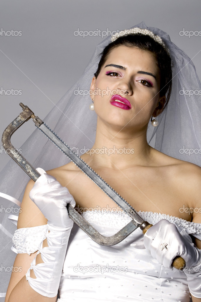 Killer bride photo series. Bridezilla with hand saw. Studio shot — Stock Photo #2866349