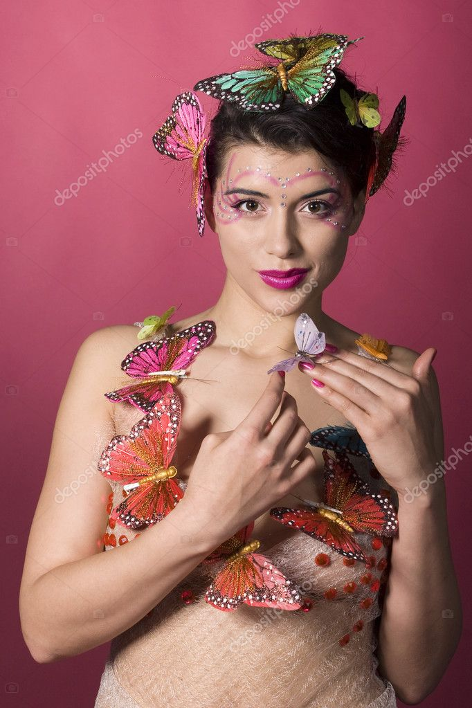 Concept of spring. Woman with butterflies. More like this in my portfolio — Stock Photo #2914350