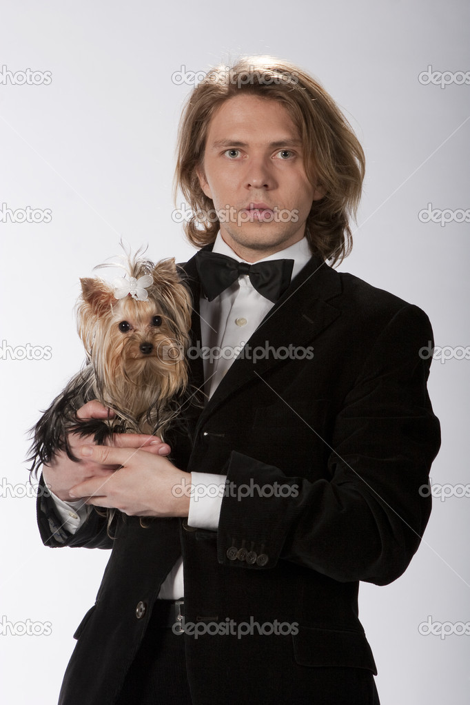 Portrait of elegant gentleman holding his cute yokshire terrier, studio image  Stock Photo #3902133
