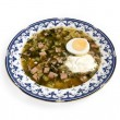 Okroshka with sour cream and egg - Stock Photo