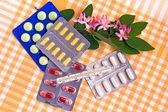 Set of drugs on a napkin — Stock Photo