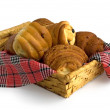 Basket with buns — Stock Photo