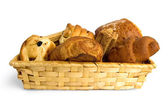 Buns in a wicker basket — Stockfoto