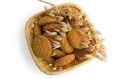 Oatmeal cookies in a basket — Stock Photo