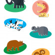 Jungle animals — Imagen vectorial