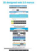 25 menu sieci web 2.0 — Wektor stockowy