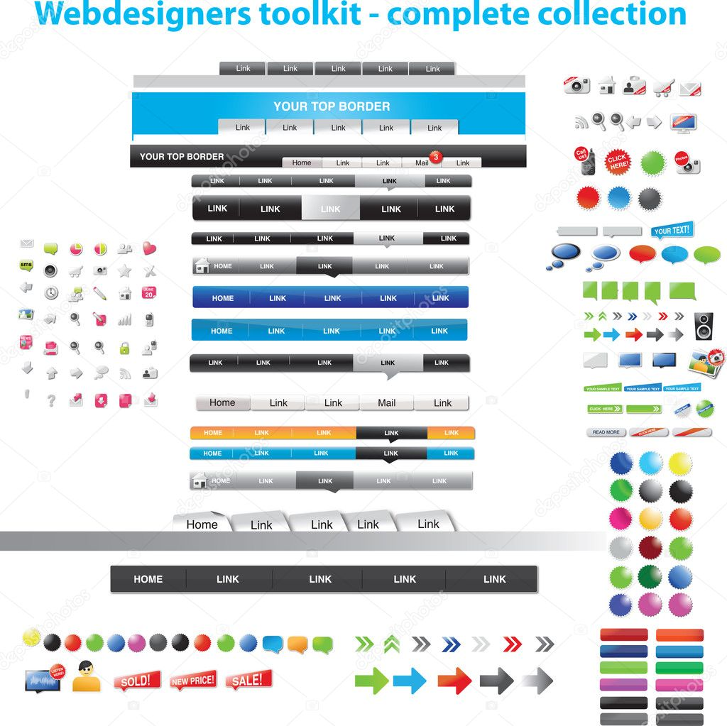 Webdesigners toolkit complete collection — Stock Vector #3052084