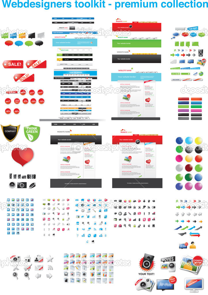 Webdesigners toolkit - premium collection — Imagen vectorial #3052093
