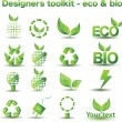 Designers toolkit - eco & bio icons — Vector de stock #3399504