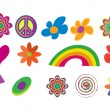 Hippie icon set - Stok Vektör