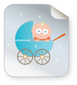 Baby in perambulator icon — Stock Vector