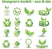 Designers toolkit - eco & bio icons — Vector de stock