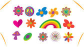 Conjunto de iconos hippie — Vector de stock