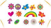 Jeu d'icônes hippie — Vecteur