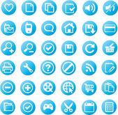 Uniwersalne ikony - niebieski wydanie — Wektor stockowy