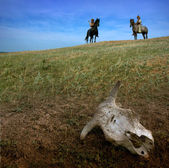 Horsemen archers in steppe wit cow skull — Stock Photo