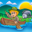 Scout boy in boat — Stock Photo