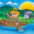 Scout boy in boat - Stock Photo