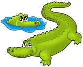 Pair of cartoon crocodiles — Stock Photo